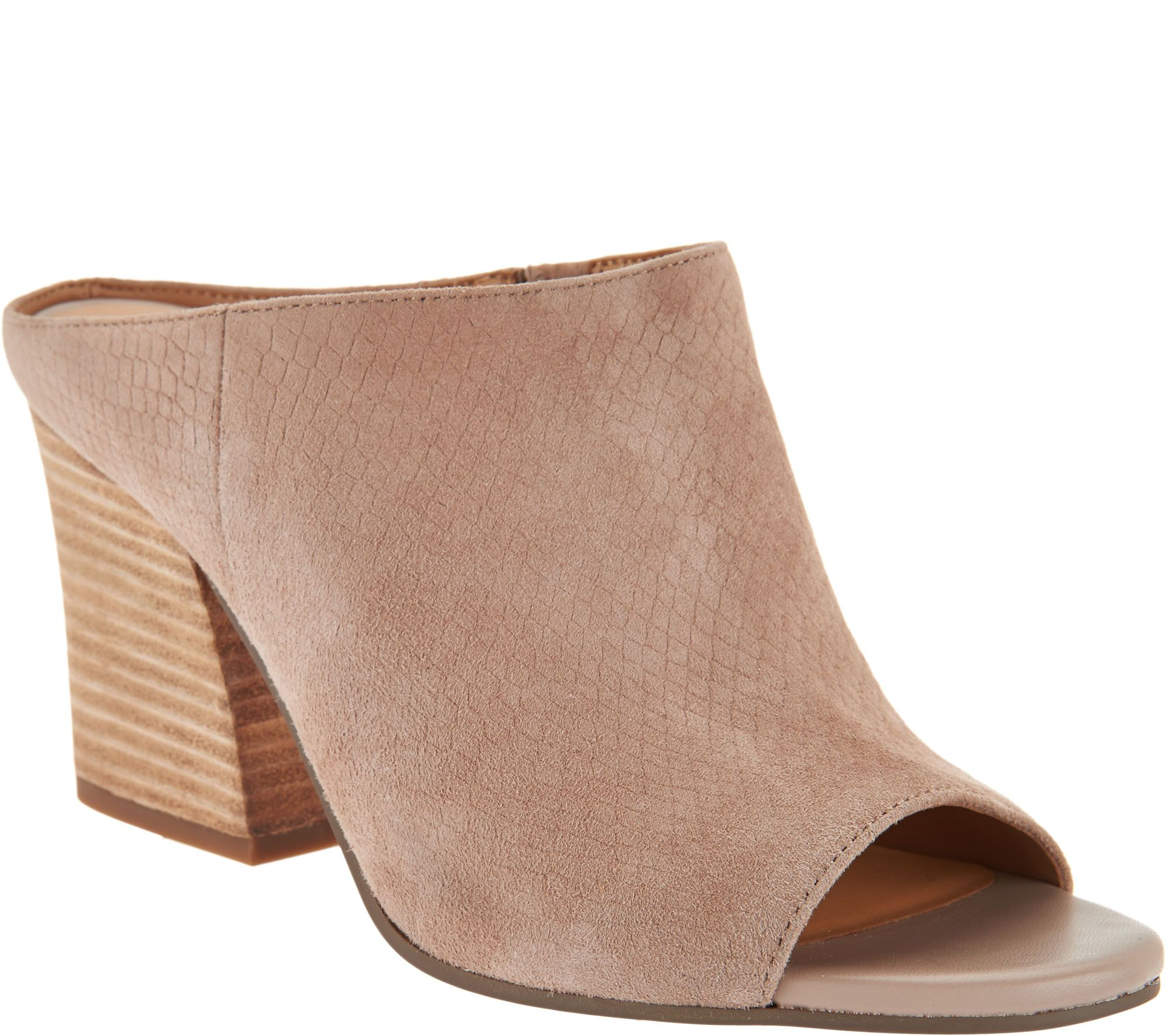 c77fa07785b334 Franco Sarto Snake Textured Suede Peep-toe Mules - Firefly - Page 1 —  QVC.com