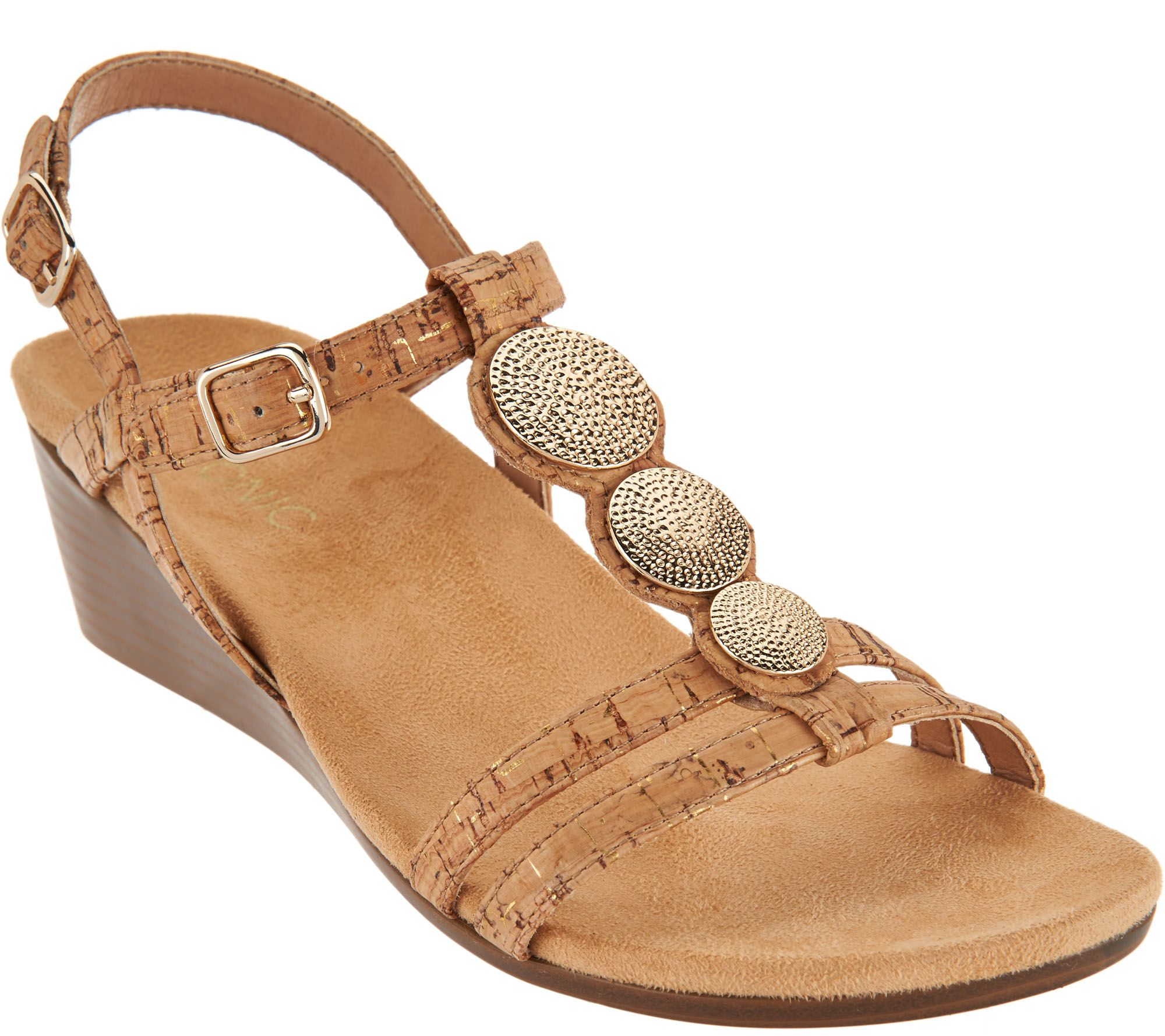 6eac20984a9d Vionic Orthotic Embellished Wedge Sandals - Noleen - Page 1 — QVC.com