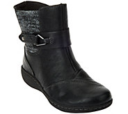 As Is Clarks Leather Ankle Boots w/Knit Panel - Fianna Adley - A291867