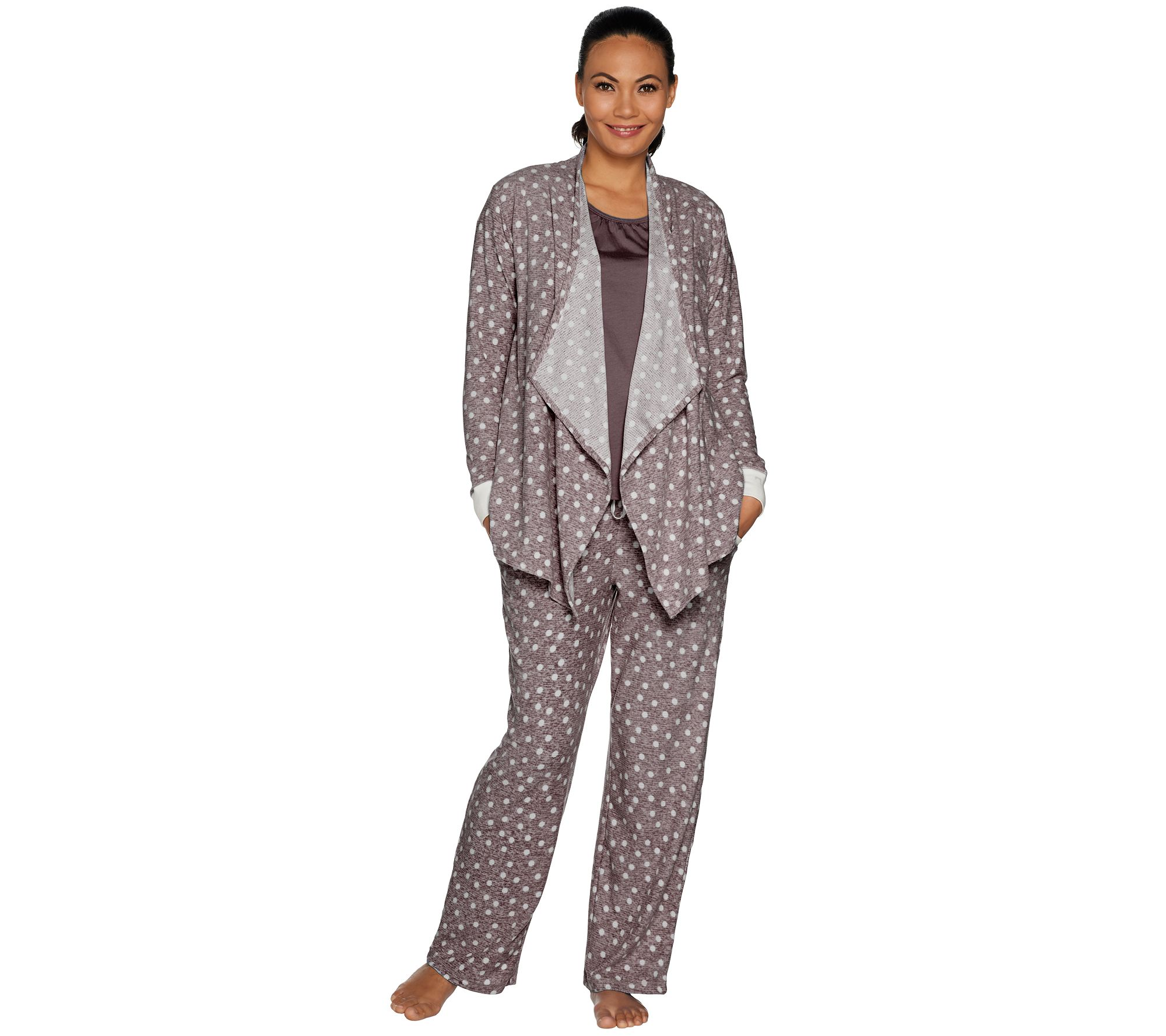 7f3663480f88 Carole Hochman Stretch Waffle Fleece 3-Piece Pajama Set - Page 1 — QVC.com