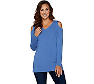 Belle by Kim Gravel Rayon Nylon Cold Shoulder Sweater Tunic - A296567
