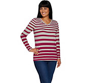 Denim & Co. Active Heather Grey Striped V-Neck Knit Top - A300767