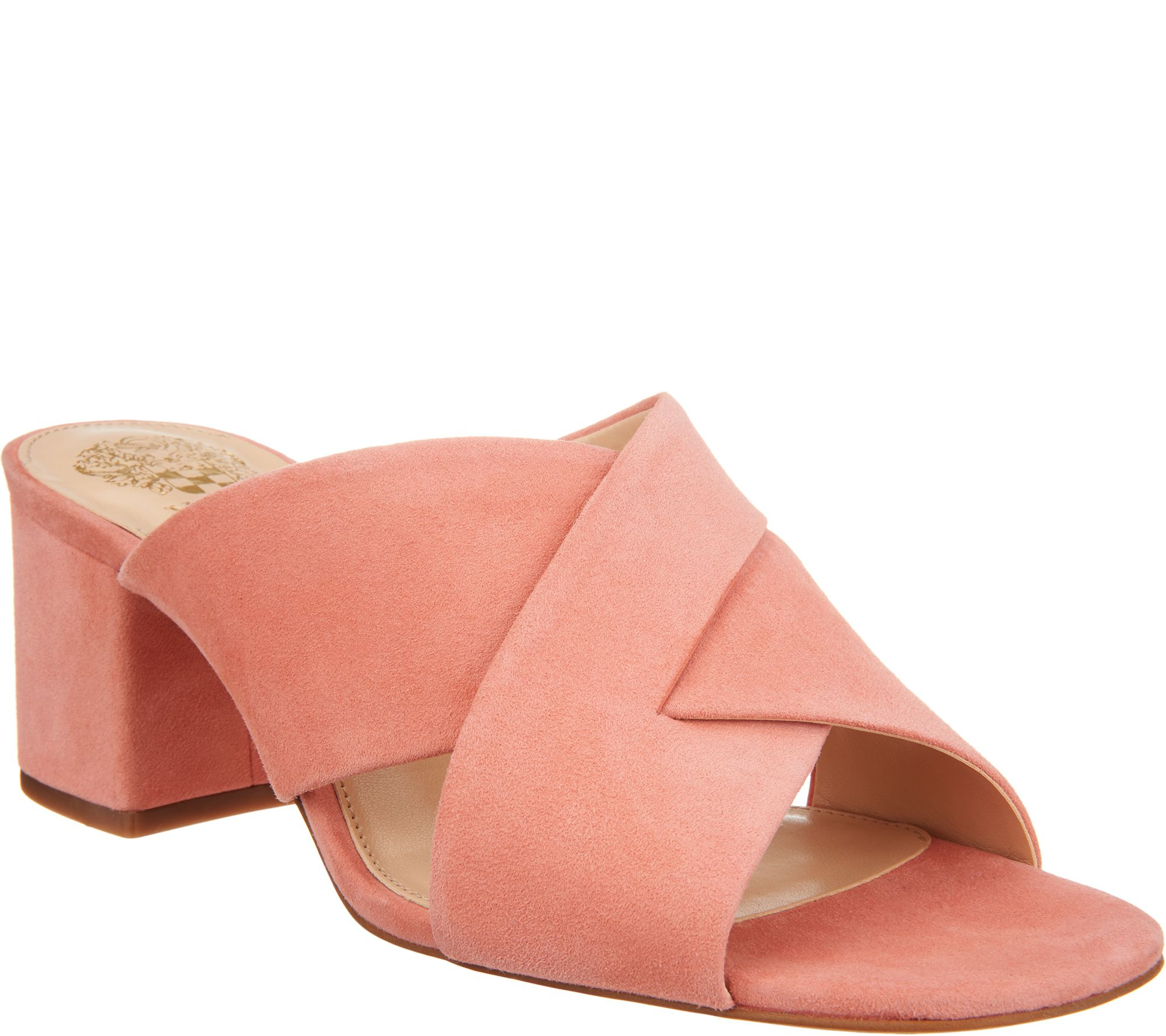 vince camuto leather or suede cross band mules
