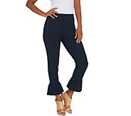 Women with Control Regular Ankle Pants w/ Ruffle Bottom - A306467