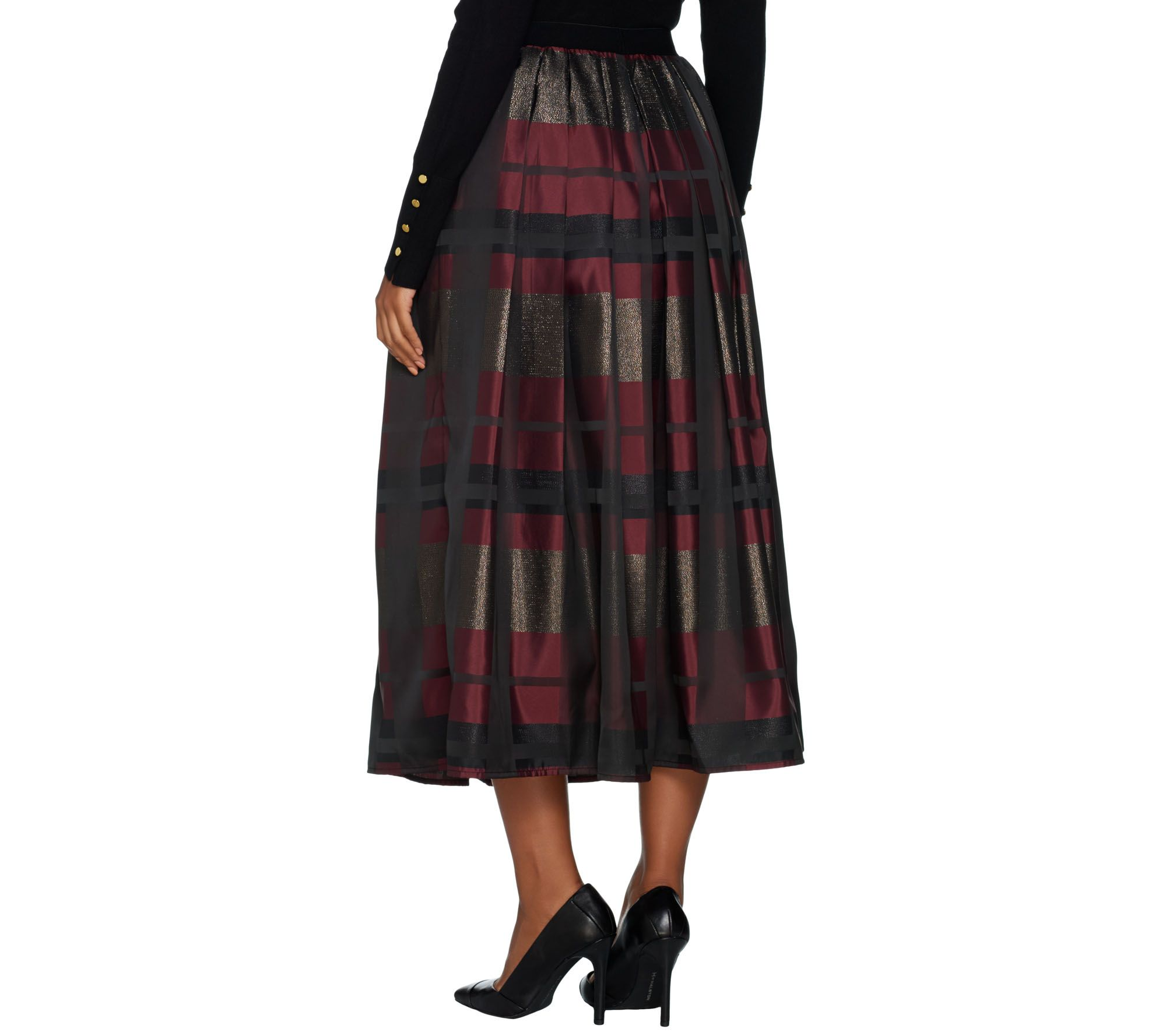 6422fb250f Joan Rivers Regular Glamorous Plaid Midi Skirt - Page 1 — QVC.com