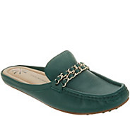 Isaac Mizrahi Live! Leather Mule Moccasin with Chain Hardware - A309767