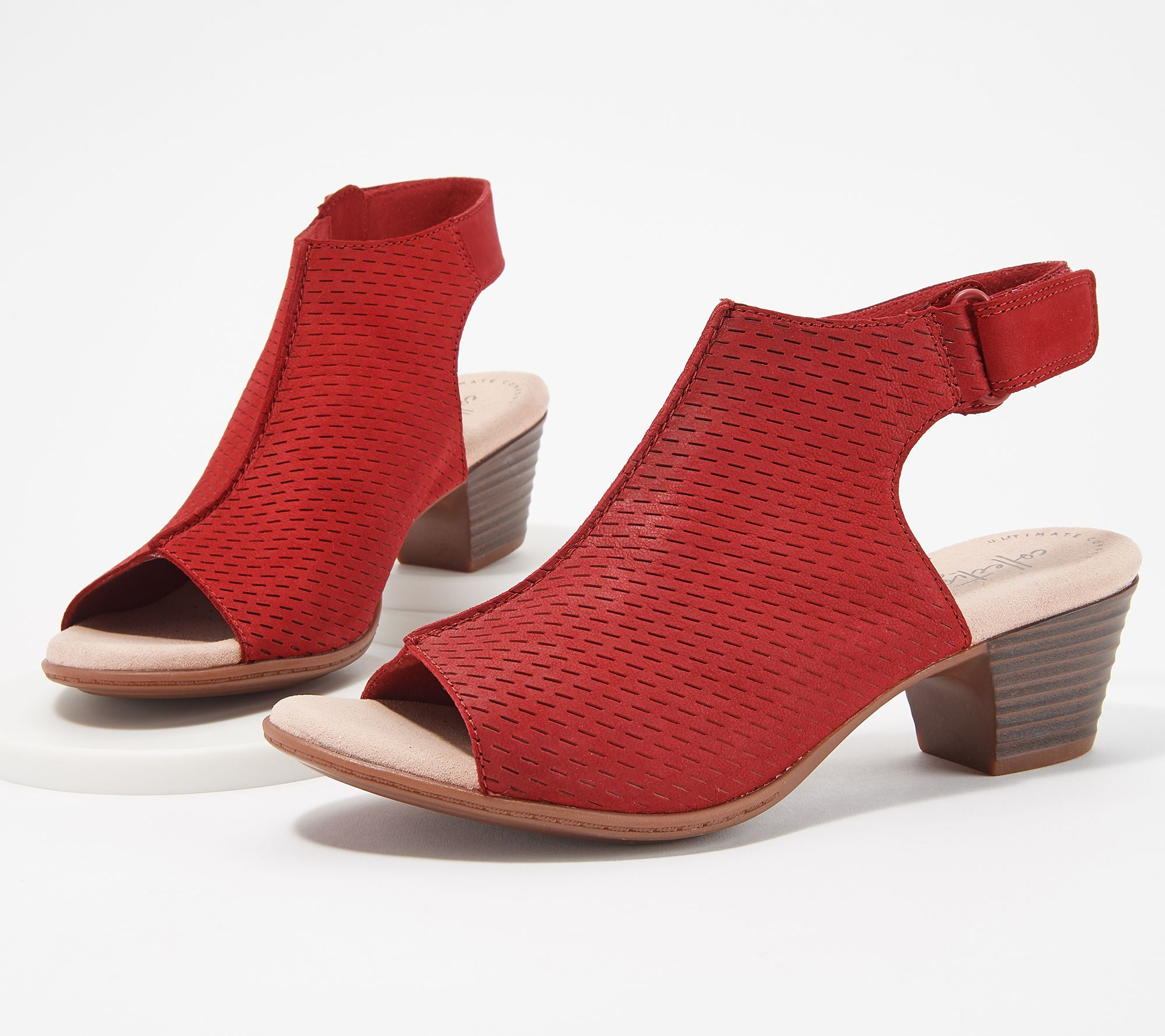 ea1deeae155a Clarks Nubuck Leather Perforated Heeled Sandals- Valarie James - Page 1 —  QVC.com