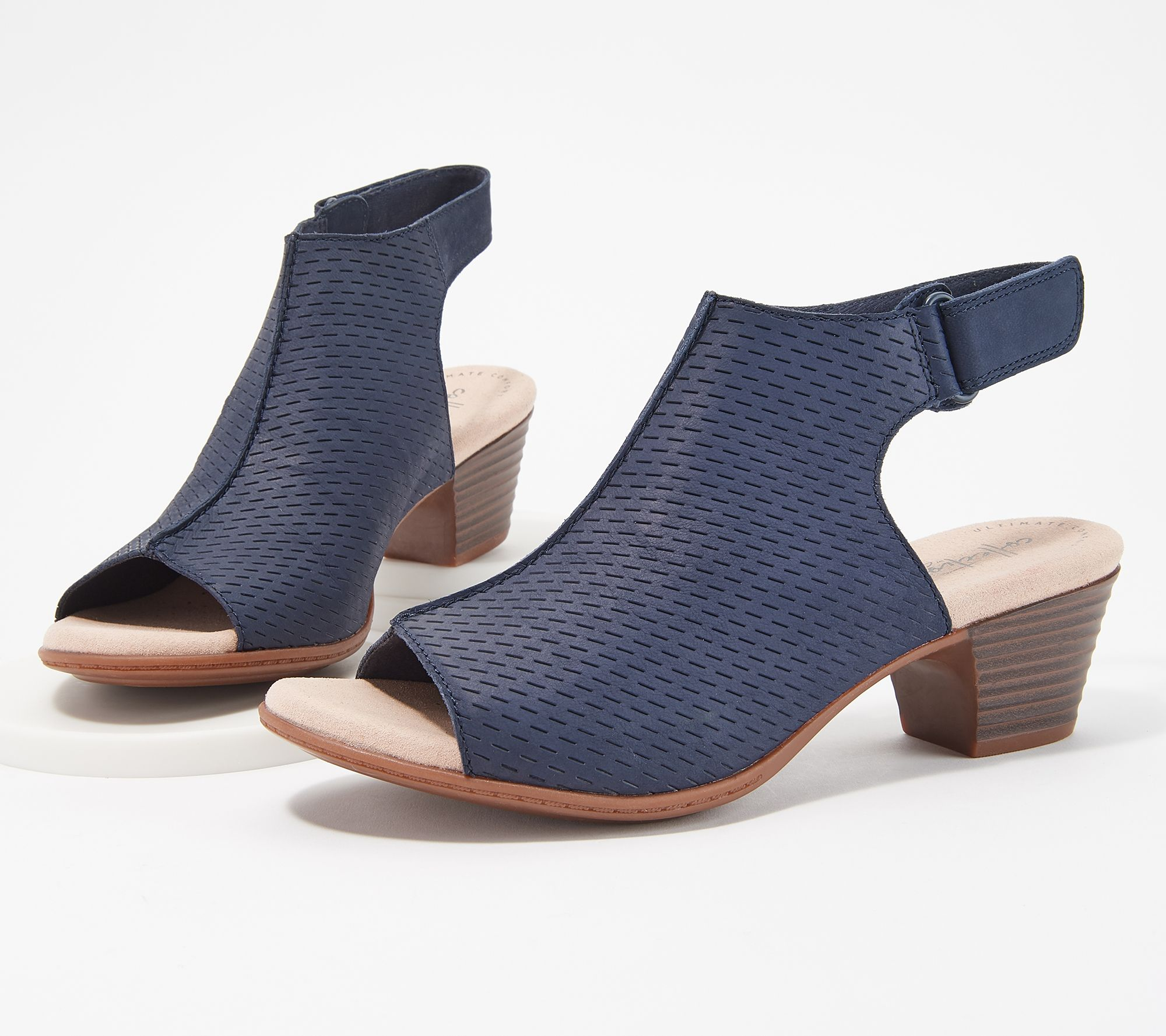05a77c8c71d Clarks Collection Leather Heeled Sandals- Valarie James — QVC.com