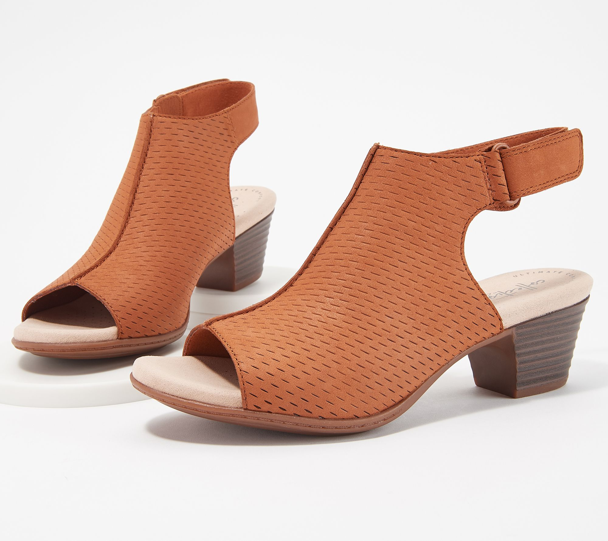 f84639c1 Clarks Collection Leather Heeled Sandals- Valarie James - Page 1 — QVC.com
