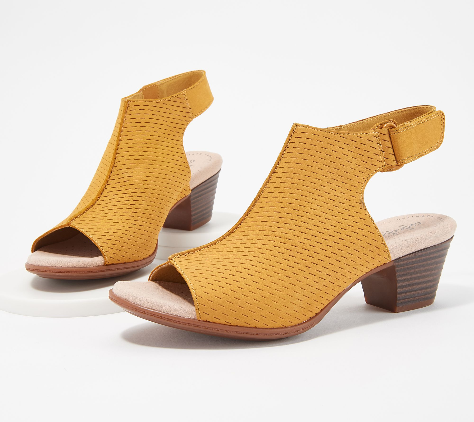 08395d699f5 Clarks Collection Leather Heeled Sandals- Valarie James — QVC.com