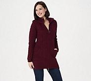 Aran Craft Merino Wool Zip-Front Hooded Sweater Cardigan - A351067