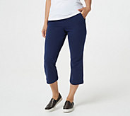 Denim & Co. Regular Active French Terry Pull-On Crop Kick Flare Pant - A383267