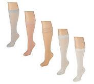 Passione Bellisimo Set of 5 Luxury Knee High Socks - A199668