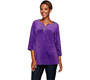 Quacker Factory Holidazzle Beaded Velour 3/4 Sleeve Tunic - A268968