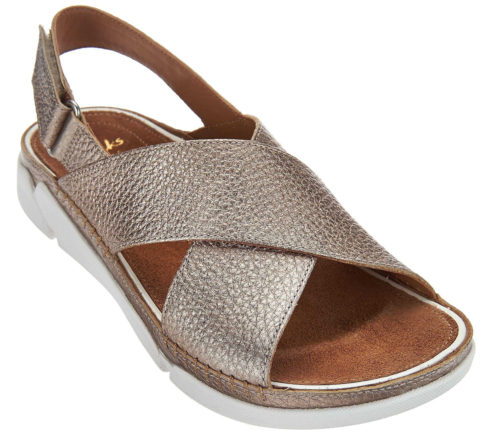 99fef652f804c Clarks Artisan Leather Cross Strap Sandals - Tri Alexia - Page 1 — QVC.com
