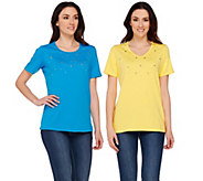 Quacker Factory Set of Two Stars and Studs Short Sleeve T-shirts - A275268