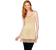LOGO Layers by Lori Goldstein Distressed Print Knit Cami with Lace Trim - A285368