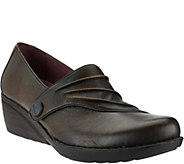 As Is Dansko Leather Wedge Slip-ons with Ruched Detail - Aimee - A289868