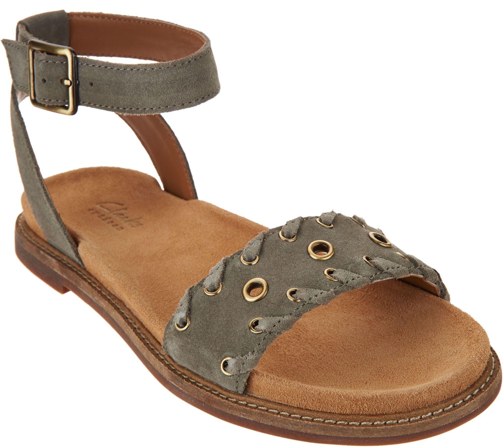 4afd2820b69d Clarks Artisan Suede Ankle Wrap Sandals - Corsio Amelia - Page 1 — QVC.com