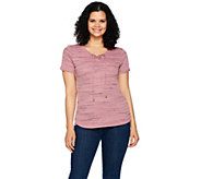 Lisa Rinna Collection Short Sleeve Lace Up Top - A292268