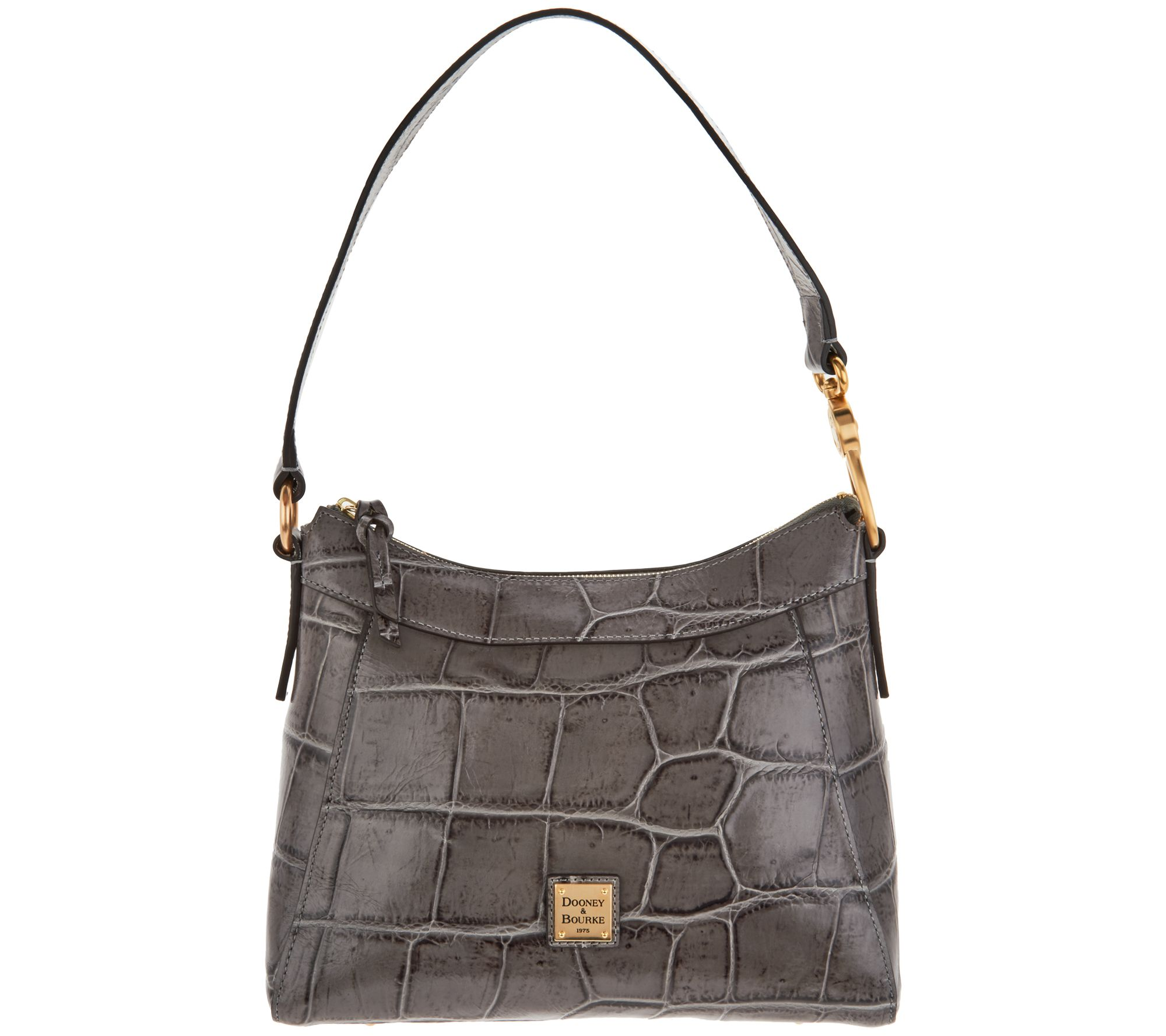 Dooney Bourke Croco Leather Large Cassidy Hobo Handbag Page 1 Qvc