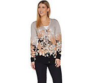 Isaac Mizrahi Live! V-neck Engineered Floral Printed Cardigan - A300868