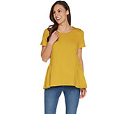 LOGO by Lori Goldstein Washed Cotton Knit Top w/ Seam Details - A302468