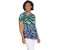 LOGO by Lori Goldstein Printed Camo Knit Top w/ Ruffle Hem - A305468