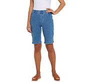 Isaac Mizrahi Live! Petite Knit Denim Bermuda Shorts - A306568