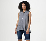 LOGO by Lori Goldstein Striped Button Front Tank with Ruffle Hem - A307268