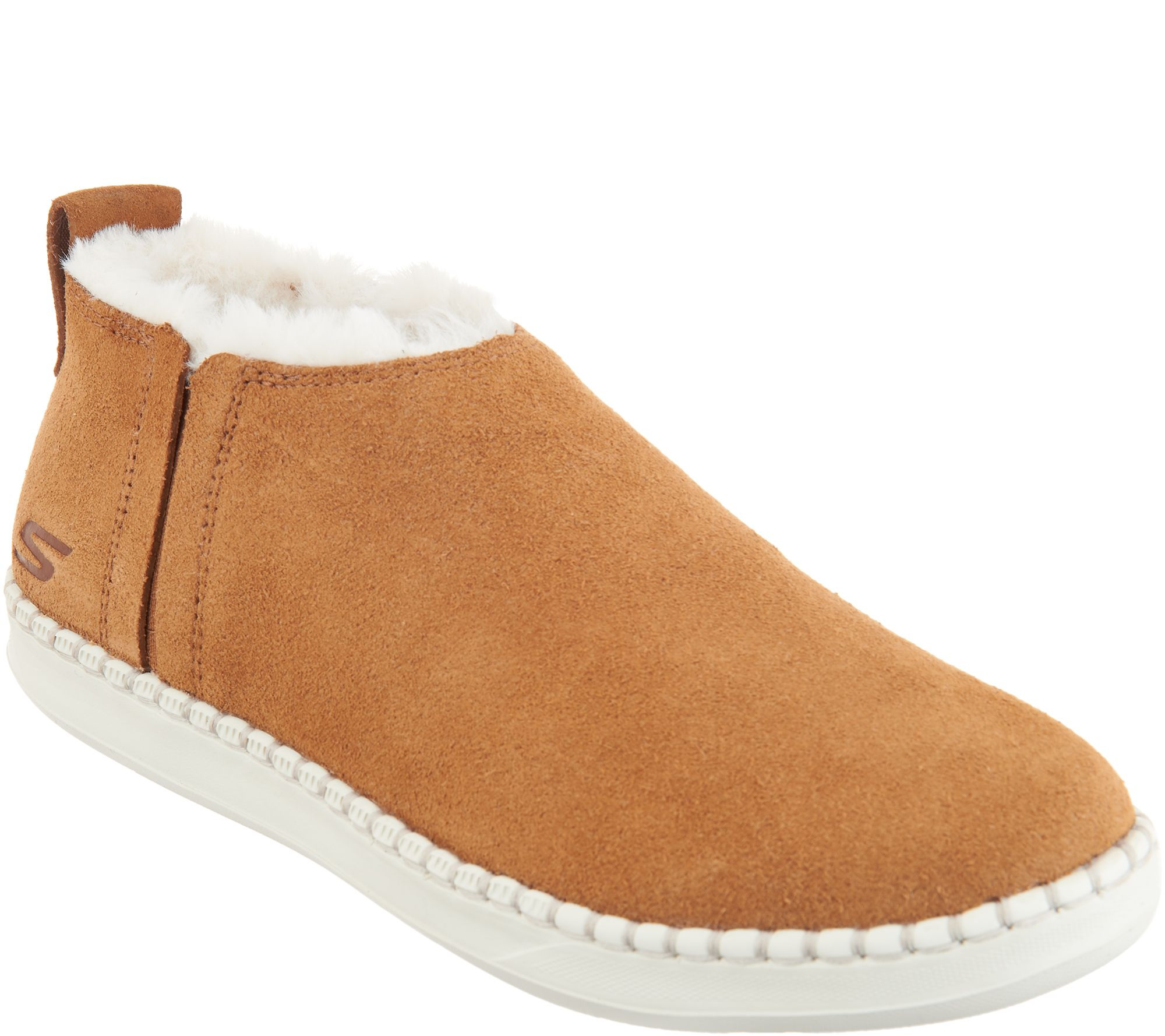 best cheap new specials los angeles Skechers Go Vulc 2 Suede Faux Fur Booties -Savvy — QVC.com