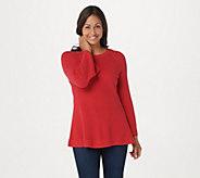 Isaac Mizrahi Live! Crew Neck Peplum Sweater w/ Bell Sleeves - A311368