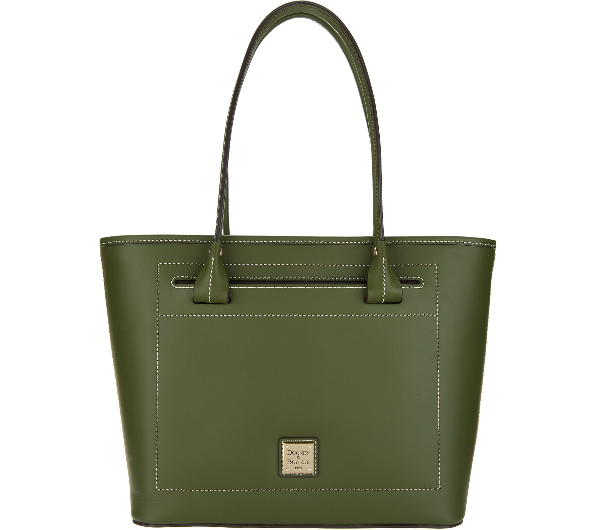 872464e59b3985 Dooney & Bourke Leather Beacon Collection Slip Tote - Page 1 — QVC.com