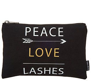 Crimes of Beauty Peace Love Lashes CanvasMakeup Bag