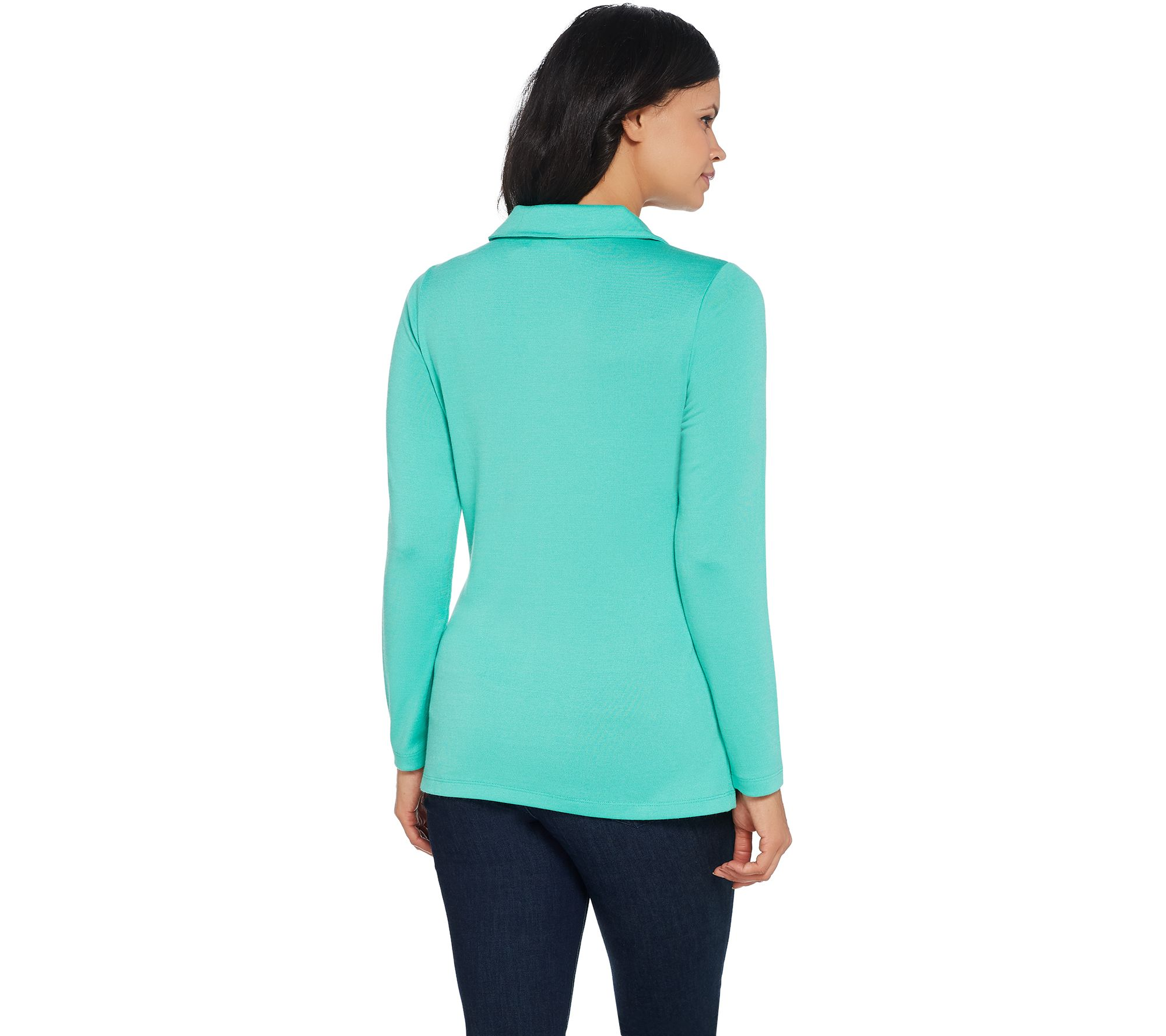 38cbda94cfa8 Denim & Co. Heavenly Jersey Long-Sleeve Top with Pleating Detail - Page 1 —  QVC.com
