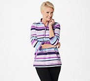 Denim & Co. Printed French Terry 3/4-Sleeve Half-Zip Top - A351568