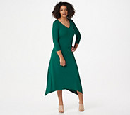 G.I.L.I. Peached Knit V-Neck Dress with 3/4-Length Sleeves - A351968