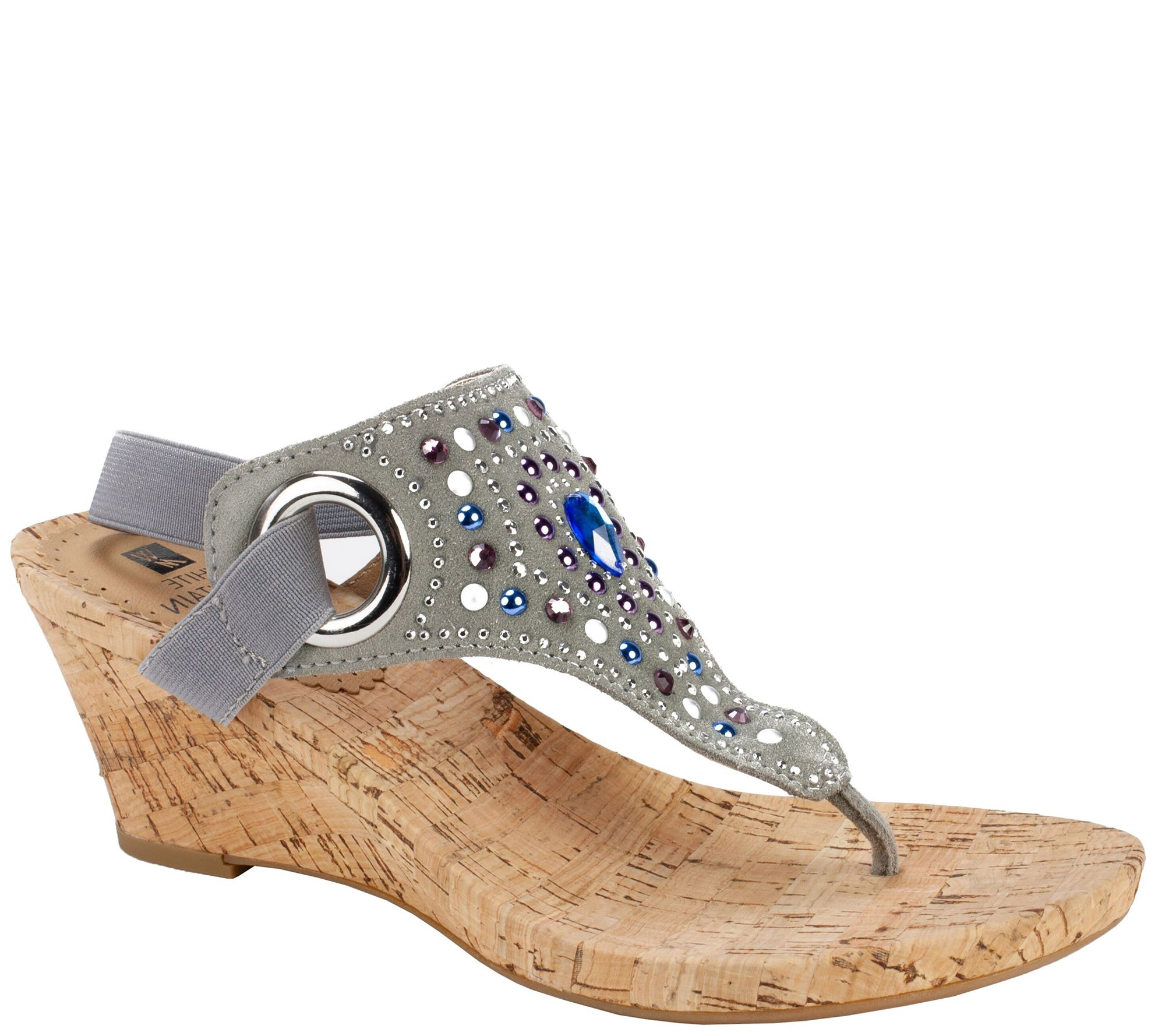 4b625c81c319f3 White Mountain Jeweled Thong Wedge Sandals -Adeline - Page 1 — QVC.com