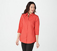 Joan Rivers 3/4-Sleeve Button Front Shirt w/ Tiered Back Ruffles - A375768
