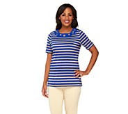 Quacker Factory Grommet Lurex Stripe Short Sleeve T-Shirt - A231569