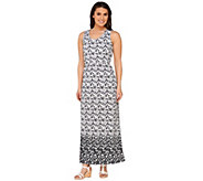 Liz Claiborne New York Petite Geo Border Print Maxi Dress - A262969