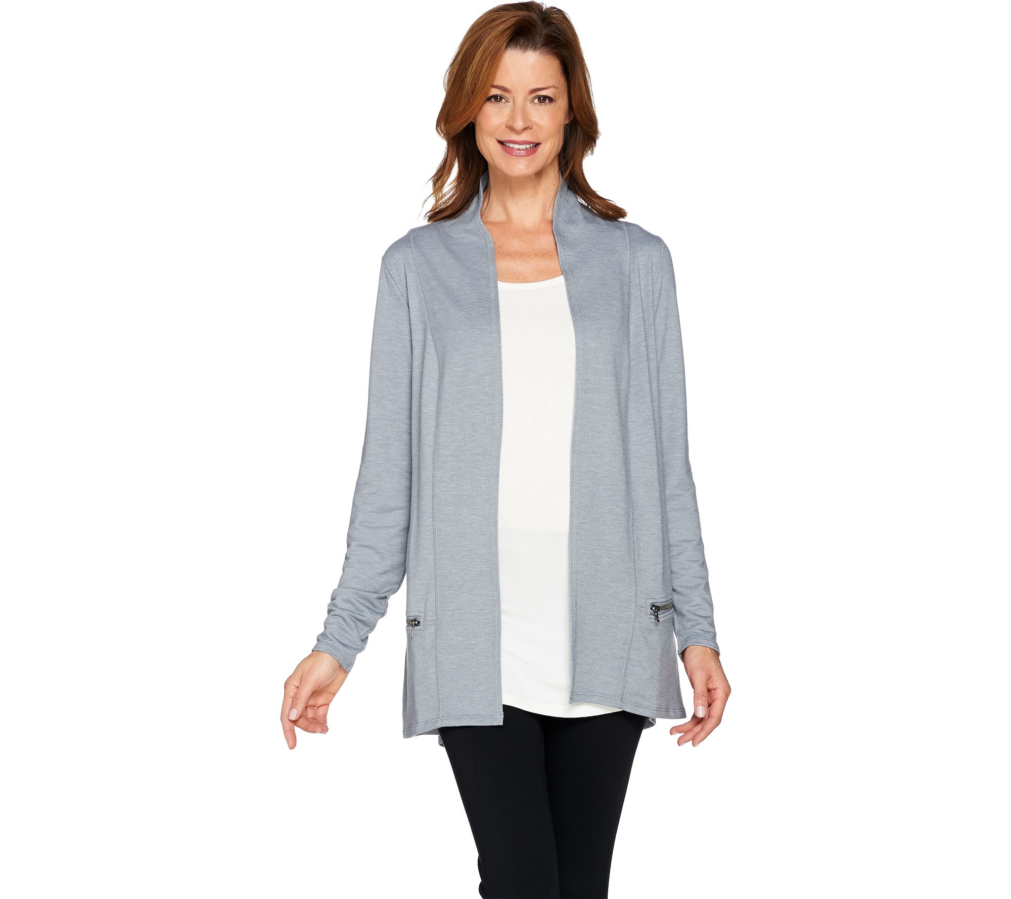 logo lounge by lori goldstein french terry cardigan with
