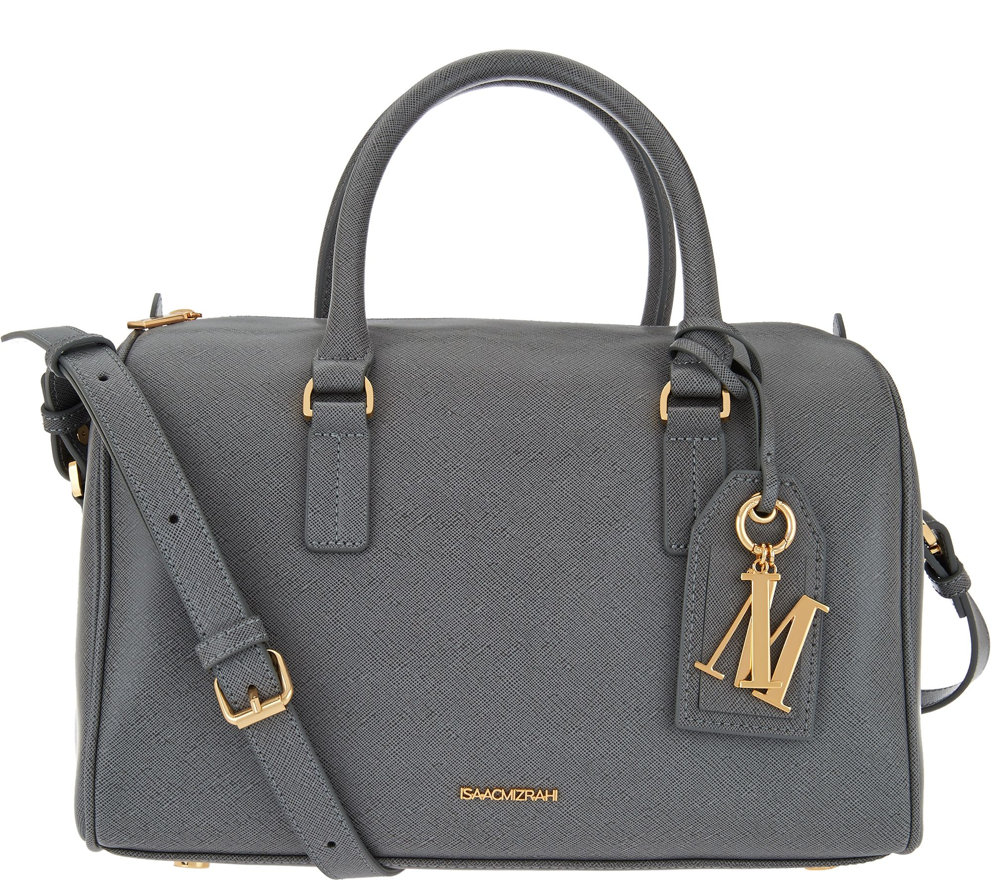 98308af5cca4 Isaac Mizrahi Live! Signature Saffiano Leather Satchel Handbag ...