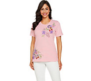 Quacker Factory Floral Embroidered Striped Short Knit T-Shirt - A289669