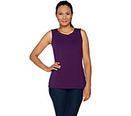 Belle by Kim Gravel Knit Tank with Faux Leather Trim - A292969
