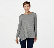Lisa Rinna Collection Long Sleeve Striped Knit Top - A294169