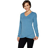 Isaac Mizrahi Live! SOHO V-neck Crossover Hem Long Sleeve Top - A295869