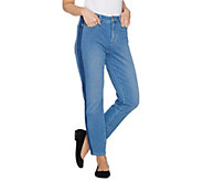 Belle by Kim Gravel Flexibelle Tuxedo Stripe Ankle Jeans - A300369