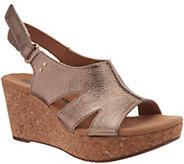 Clarks Leather Cork Wedge Adjustable Sandals - Annadel Bari - A306969
