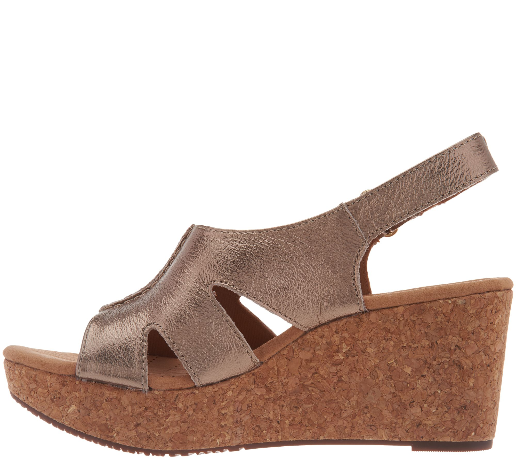 42cef8edabdc Clarks Leather Cork Wedge Adjustable Sandals - Annadel Bari - Page 1 —  QVC.com
